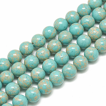 Synthetic Imperial Jasper Beads Strands, Dyed, Round, Turquoise, 6mm, Hole: 1mm; about 68pcs/strand, 15.7inches(G-S300-42A-6mm)