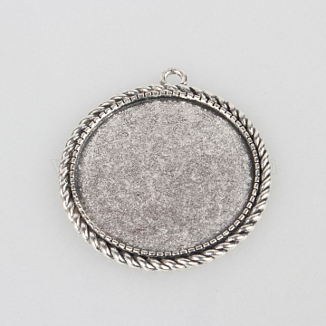 Tibetan Style Alloy Pendant Cabochon Settings, Flat Round, Antique Silver, Tray: 35mm; 46x42x2mm, Hole: 3mm(X-TIBEP-N003-66AS)
