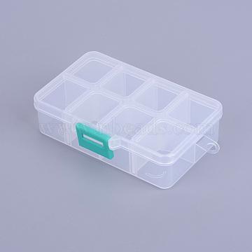 Organiser Storage Plastic Boxes, Adjustable Dividers Box, Rectangle, White, 11x7x3cm; 1 compartment: 3x2.5cm; 8 compartment/box(X-CON-X0002-01)