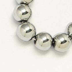 """Chapelets de perles en hématite synthétique sans magnétiques, Grade a, rond, platinée, 4mm, trou: 1mm; environ 110 pcs/chapelet, 15.5""""(X-G-S096-4mm-3)"""