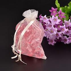 Bijoux blancs crémeux emballant des poches extractibles, Pochette organza pour cadeaux, 12x9 cm(X-OP-12x9cm-1)
