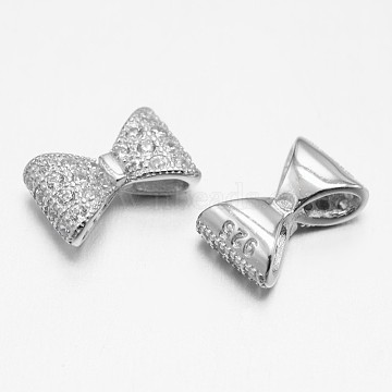 Platinum Bowknot Sterling Silver+Cubic Zirconia Beads