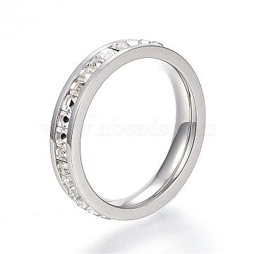 304 Stainless Steel Finger Rings, with Rhinestones, Stainless Steel Color, Size 8, 18mm(RJEW-G081-35P-18mm)