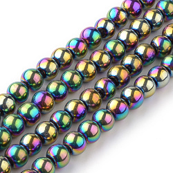 Transparent Glass Beads Strands, Round, Multi-color Plated, 6mm; Hole: 1mm, about 55pcs/strand, 14.1inches(X-EGLA-R047-6mm-02)