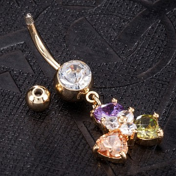 Piercing Jewelry, Eco-Friendly Brass Cubic Zirconia Navel Ring, Belly Rings, with Use Stainless Steel Findings, Real 18K Gold Plated, Flower, Colorful, 42x16mm(AJEW-EE0003-24D)