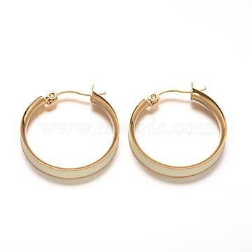 Ring 304 Stainless Steel Enamel Hoop Earrings, Golden, 29x26mm; Pin: 1x0.5mm(X-EJEW-L137-02G)