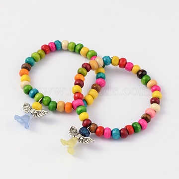 Kids Bracelets Wood Bead Stretch Bracelets, with Alloy Acrylic Pendants, Lovely Wedding Dress Angel Dangle, Mixed Color, 45mm(BJEW-JB02020-05)