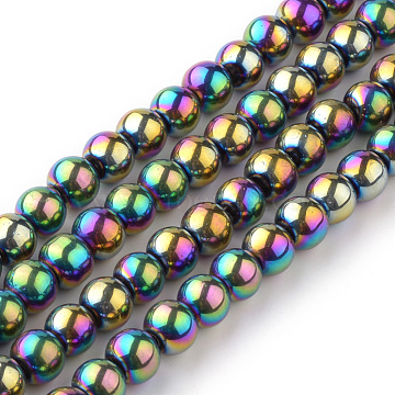 Transparent Glass Beads Strands, Round, Multi-color Plated, 6mm; Hole: 1mm, about 55pcs/strand, 14.1 inches(X-EGLA-R047-6mm-02)