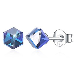 925 Sterling Silver Stud Earrings, with Austrian Crystal, Cube, Carved 925, Platinum, 211_Light Sapphire, 4x4mm(EJEW-BB30560-E)
