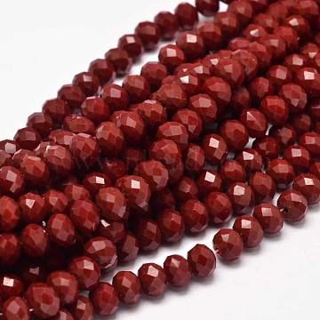 8mm DarkRed Abacus Glass Beads