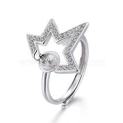 Composants de bagues en 925 argent sterling, pour la moitié de perles percées, avec zircons, étoiles, platine, taille 7, 17 mm; plateau: 5 mm; broches: 0.8 mm(STER-F048-03P)