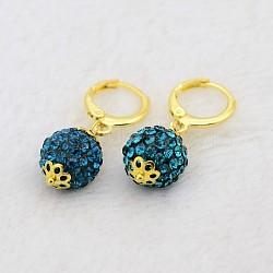 Pendantes rondes résine de balle boucles d'oreilles strass, avec boucles d'oreilles créoles en laiton doré, zircon bleu, 30mm, pin: 1 mm(EJEW-J080-06G)