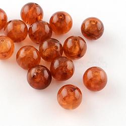 Perles rondes en acrylique d'imitation pierre précieuse, chocolat, 8mm, Trou: 2mm(X-OACR-R029-8mm-15)