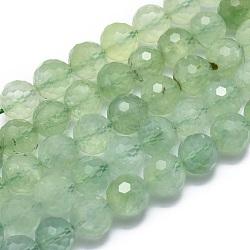 Chapelets de perles en préhnite naturelle, facette, rond, 9.5~10mm, trou: 1mm; environ 42 pcs/chapelet, 15.7'' (40 cm)(G-G792-33E)
