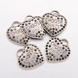 Pendentifs de support de cœur en alliage, sans plomb et sans cadmium, argent antique, Longueur 26mm,  largeur de 23 mm, 1.5 mmthick, Trou: 4 mm(ECC097Y)