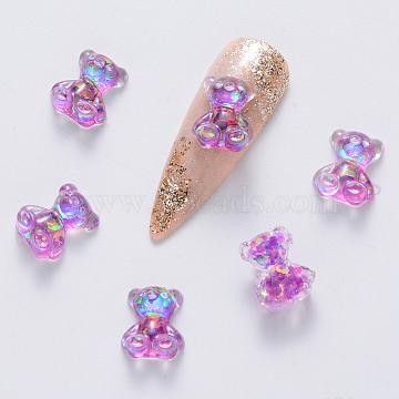 Epoxy Resin Cabochons, with Glitter Powder, Nail Art Decoration Accessories, Bear, Medium Purple, 10x8x4mm(X-MRMJ-S035-013F)