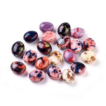 Handmade Porcelain Beads, Fancy Antique Glazed Porcelain, Oval, Mixed Color, 15.5~16x13~14x9~9.5mm, Hole: 2mm(X-PORC-S496-P)