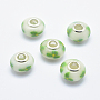Lime Rondelle Polymer Clay European Beads(CLAY-K002-A29)