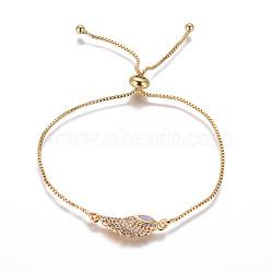 """Bracelets bolo réglables en laiton, Bracelets coulissants, chaînes de boîte, Avec de l'opale synthétique et de la zircone cubique, ailier, lilas, 9-3/4"""" (24.7 cm), 1mm(BJEW-L618-05G-A)"""