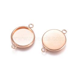 304 настройки разъема кабошона из нержавеющей стали, чашки безель с краем, плоские круглые, розовое золото, лоток: 12 мм; 14x19x2 мм, отверстия: 1.6 mm(STAS-E484-45H-RG)