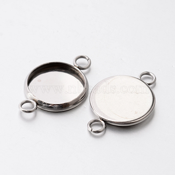 Flat Round 304 Stainless Steel Cabochon Connector Settings, Stainless Steel Color, Tray: 14mm, 23.5x16x2mm, Hole: 2.5mm(X-STAS-E079-02A)