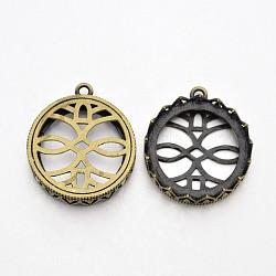 Supports pendentif cabochon rond et plat en laiton en filigrane, sans nickel, bronze antique, plateau: 25 mm; 31x28x8 mm, Trou: 2mm(KK-J228-25AB-NF)