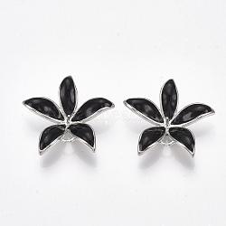 Liens en laiton piquets, pour perle à moitié percée, avec l'émail, fleur, Platine plaqué réel, noir, 23x24x5~6mm, trou: 1~2 mm; broches: 0.8 mm(KK-S350-387A-P)