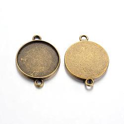 тибетского стиля кабошон параметры соединителя, чашки безель с краем, свинца и никеля бесплатно, плоские круглые, античная бронза, лоток: 20 мм; 29x22x2.5 мм, отверстия: 2 mm(X-TIBE-A124178-AB-FF)