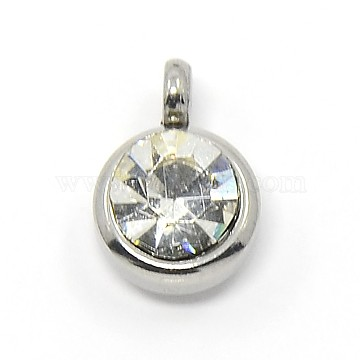 Trendy Original Color 304 Stainless Steel Grade A Rhinestone Flat Round Charm Pendants, Faceted, Crystal, 9x6.5x4mm, Hole: 2mm(X-RB-M030-06J)