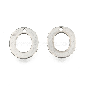 304 Stainless Steel Letter Charms, Letter.O, 11x10x0.5mm, Hole: 1mm(X-STAS-O072-O)