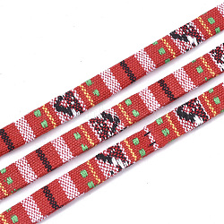 Cotton Cords, Ethnic Cord, Colorful, 9.5~10x1.5~2.5mm; about 5m/roll(OCOR-S019-02A)