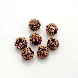 Бусины со стразами из смолы, многоцветные, круглые, чёрные, 12x10 мм, отверстие : 2 мм(RESI-S257-12mm-SB2)