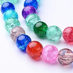 """Perles en verre craquelé rondes 16"""" teintes avec couleur mixte, 10mm, Environ 42 pcs/chapelet, trou: environ 1.5 mm(X-GGM004)"""