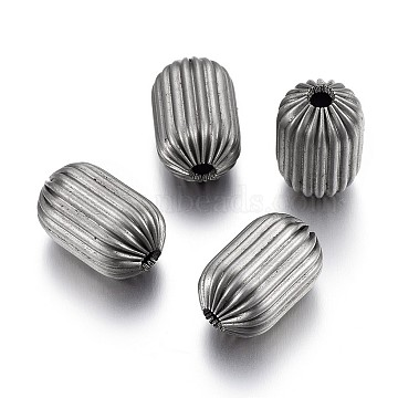 304 Stainless Steel Corrugated Beads, Column, Stainless Steel Color, 15x9.5~10mm, Hole: 3mm(STAS-P218-25-10mm)