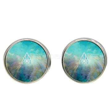 MediumAquamarine Glass Stud Earrings