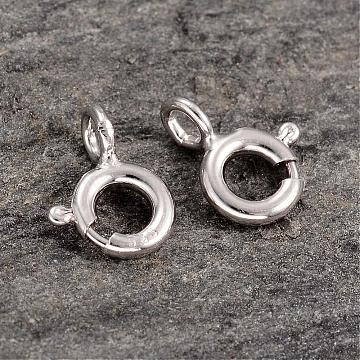 Platinum Plated 925 Sterling Silver Spring Ring Clasps, 8x6x3mm, Hole: 1.5mm(STER-K014-H152-5mm-P)