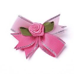Broche en polyester, avec les accessoires en fer, bowknot avec des fleurs, rose, 50~53x47~48mm(JEWB-I011-04A)