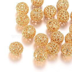 Brass Filigree Beads, Filigree Ball, Round, Light Gold, 10mm, Hole: 1mm(X-KK-R037-131KC)
