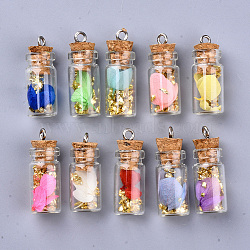Glass Wishing Bottle Pendant Decorations, with Dried Flower  & Chip Gemstones inside, Cork Stopper and Platinum Iron Screw Eye Pin Peg Bails, Mixed Color, 27~29x11mm, Hole: 2mm(X-GLAA-S181-09)