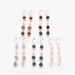 Boucles d'oreilles dormeuses en pierres précieuses mélangées naturelles, facette, avec perles nacrées, accessoires en fer et accessoires de dormeuse en laiton, 70mm, pendentif: 53~54x7~9 mm(EJEW-JE02822)