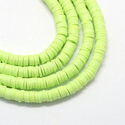 Perles artisanales à l'argile polymère artisanales, disque / rond plat, perles heishi, lightgreen, 3x1 mm, trou: 1 mm; environ 380~400 perle / brin, 17.7(X-CLAY-R067-3.0mm-24)