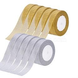 """Ruban métallique pailleté, Ruban scintillant, or, argent, 1"""" (25~26 mm); environ 25 mètres / rouleaux, 5 rouleaux / groupe, 2 groupes / ensemble(OCOR-BC0004-05)"""