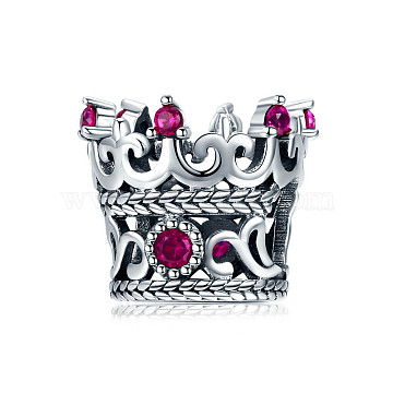 Hollow 925 Sterling Silver Cubic Zirconia European Style Beads, Large Hole Beads, Carved 925, Crown, Deep Pink, 10x12mm, Hole: 4~5mm(STER-FF0006-15AS)