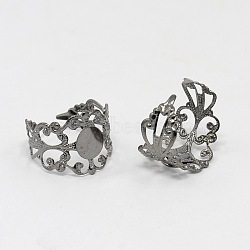 Brass Filigree Ring Components, Adjustable Ring Base Findings, Lead Free, Gunmetal, Size: Ring: about 17mm inner diameter; Tray: 8mm in diameter(X-KK-H063-B)