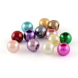 Perles européennes en plastique ABS d'imitation perle, perles de rondelle avec grand trou , couleur mixte, 11.5~12x10mm, Trou: 5mm(X-MACR-R530-12mm-M)