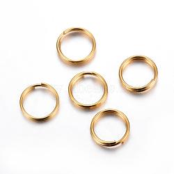304 Stainless Steel Split Rings, Golden, 10x2mm, Inner Diameter: 8mm, Single Wire: 1mm(X-STAS-P223-22G-06)