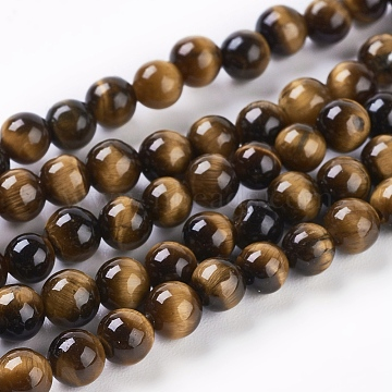 Natural Tiger Eye Beads Strands, Round, 4mm, Hole: 1mm; about 45pcs/strand, 8inches(X-G-C076-4mm-1B)