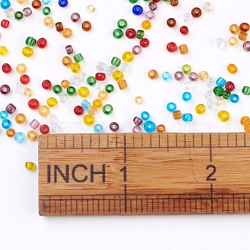 8/0 Glass Seed Beads, Transparent, Round, Mixed Color, 2.5~3x2~3mm, Hole: 1mm; about 1000pcs/50g(X-SEED-A004-3mm)