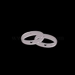 Matrices de découpe en métal, pour bricolage scrapbooking / album photo, carte de papier de bricolage décoratif, anneau avec coeur, mat platine, 2.6x5.4mm(DIY-O006-13)
