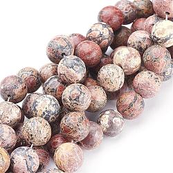 """Chapelets de pierres précieuses rondes de 16"""", jaspe en peau de léopard rouge, Perle: 12 mm de diamètre, trou: 1.0 mm. environ 32 pièces/ chapelet(GSR12mmC066)"""
